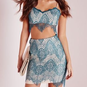 NWT Missguided Teal Scalloped Mini Skirt Set